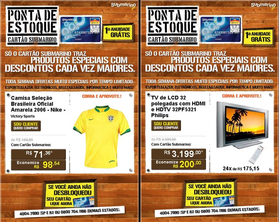 Ponta de Estoque Cartão Submarino · Campanha online