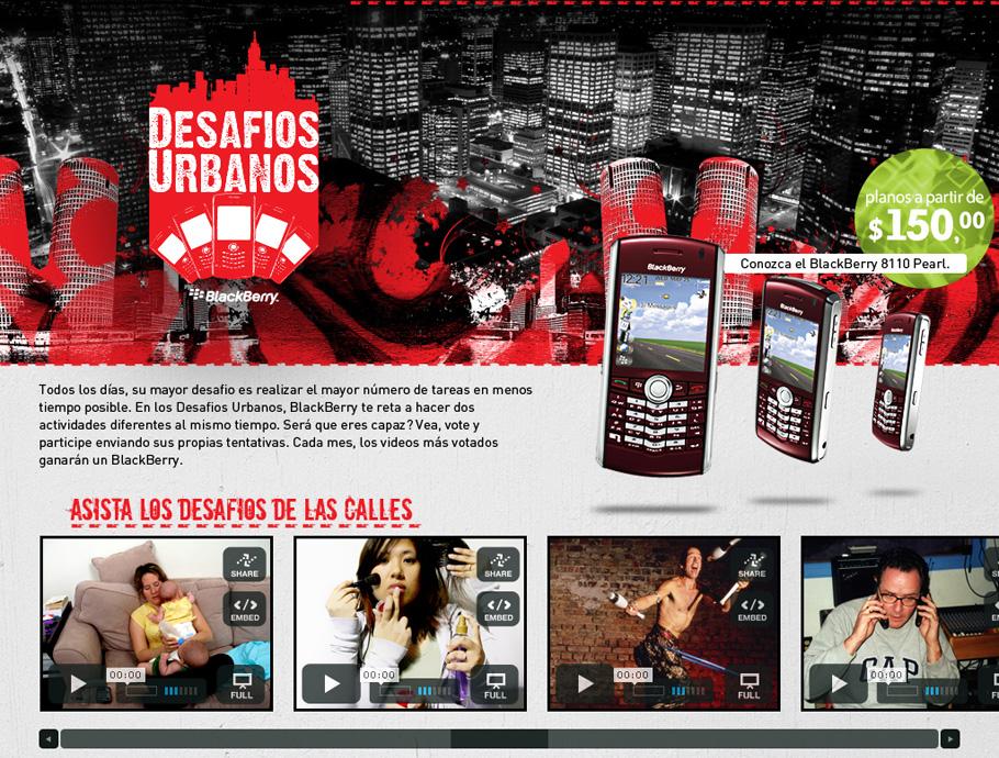 Desafios Urbanos Blackberry · Hotsite
